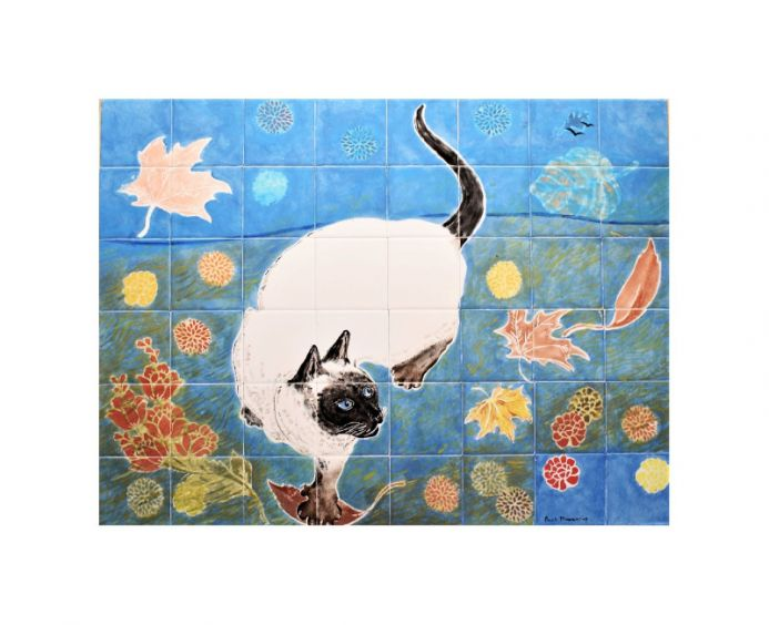 The Siamese Cat Hand painted Ceramic tile Splashback