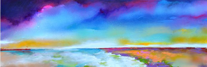 New Horizon 126 - 120x40 cm, Colourful Painting, Colourful Sunset Painting, Impressionistic Colorful Painting, Large Modern Ready to Hang Abstract Landscape Painting