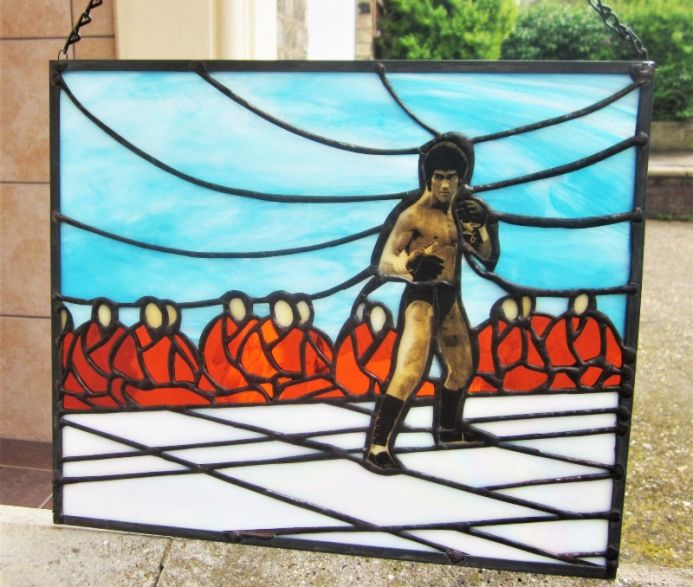 Stained Glass Enter The Dragon Art Bruce Lee Limited Edition Hanging Window Panel