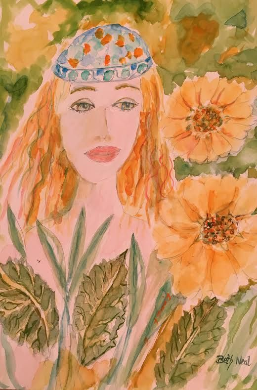 'Sunflowers with Girl'