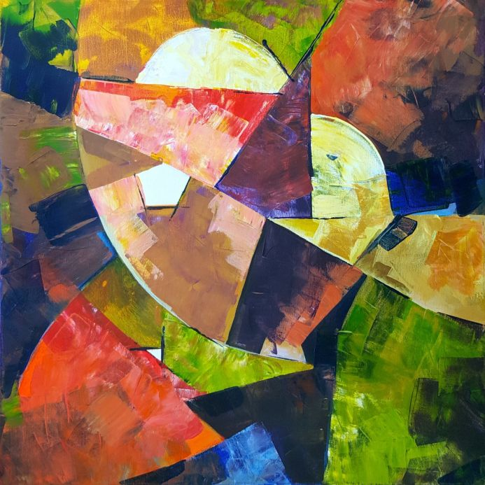 Acrylic abstract geometrical shapes.