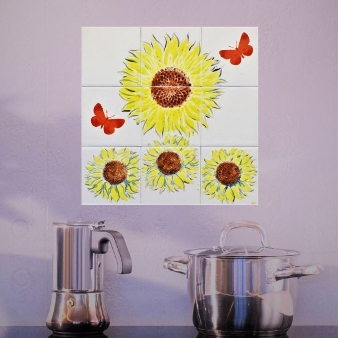 Sunflower Splashback, Hand Painted Glazed Tiles, Kitchen or Bathroom.