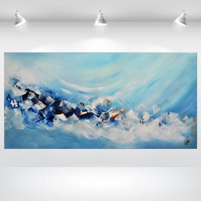 Dreaming - Abstract Acrylic Painting on Canvas, Blue Canvas Wall Art