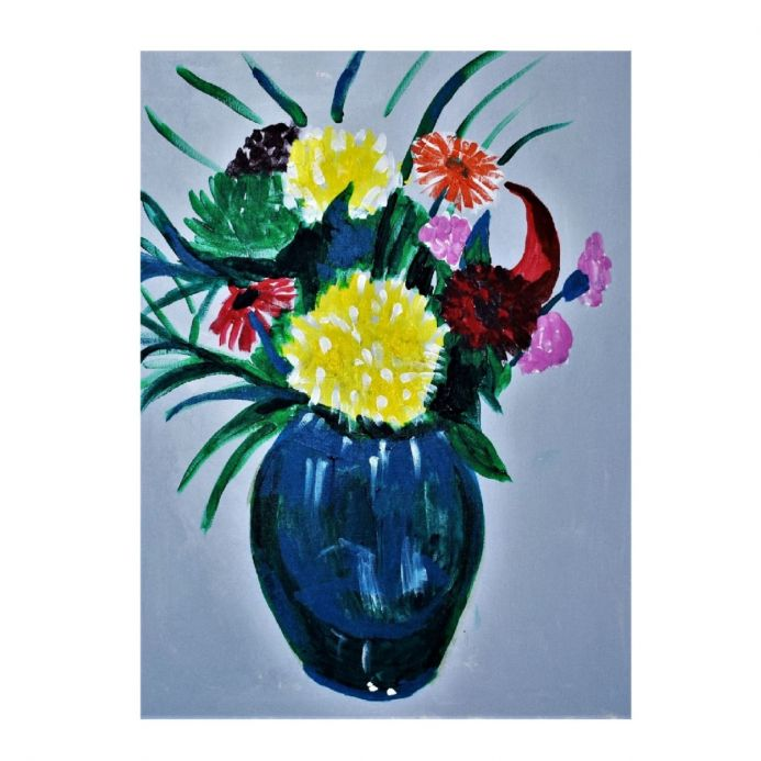 Grey Bouquet  Modern Flower Painting on Canvas
