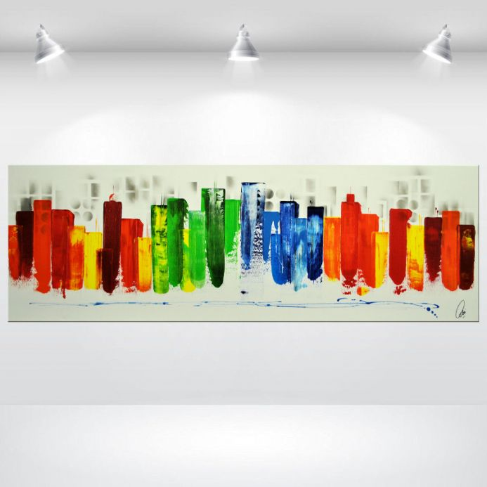 Living in the Ctiy - Abstract Cityscape, Acrylic Painting on Canvas