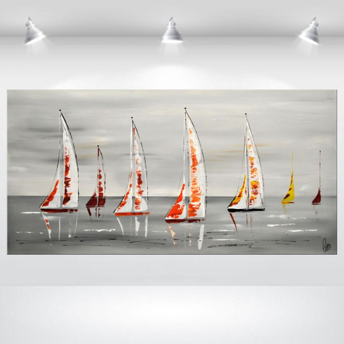 White Sails- Abstract sailboat painting, streched canvas art, large painting