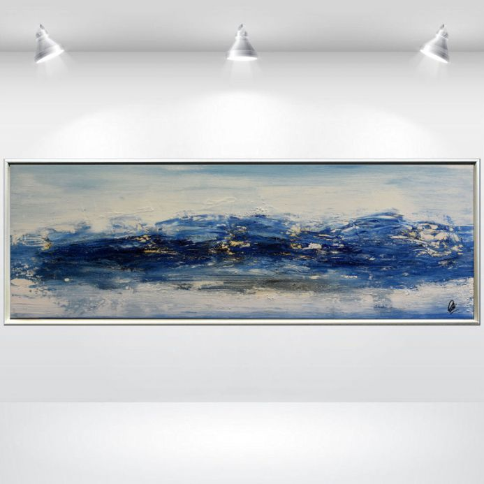 Seascape - Abstract Painting in Frame, Modern Acrylic Art