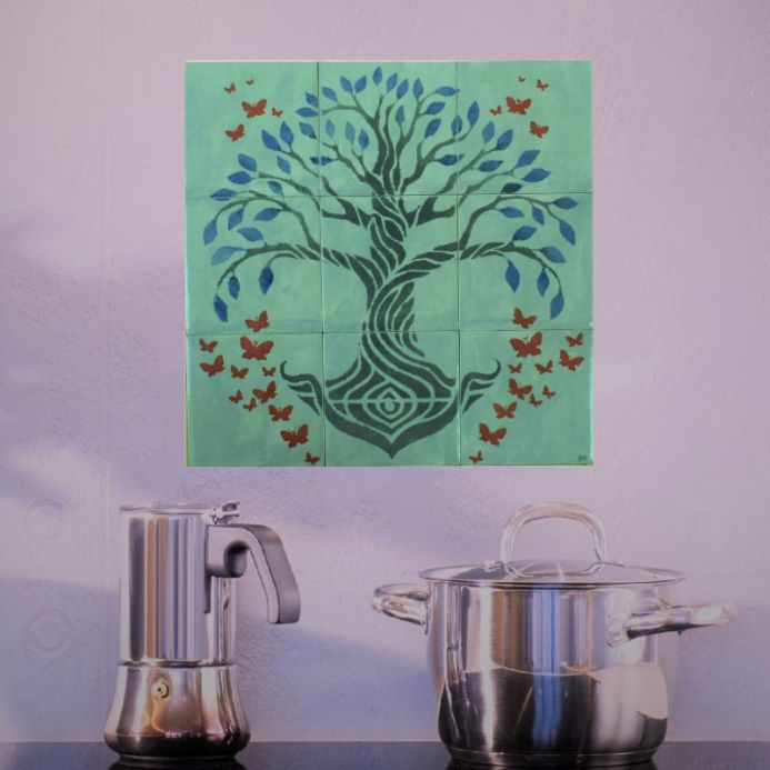 Ceramic tile mural with Tree of Life Grey Tiles