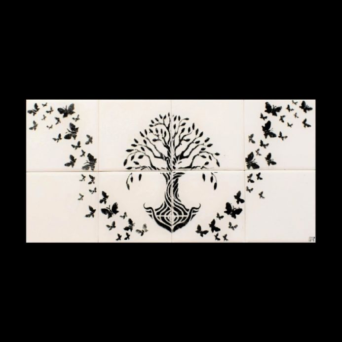 Ceramic Tile Backsplash, Handmade, Tree of Life, For Kitchen and Bathroom