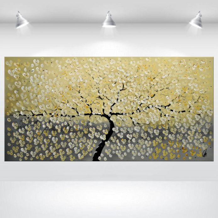 Dream of White - acrylic painting on canvas, bloolimg tree painting, abstract cherry blossoms