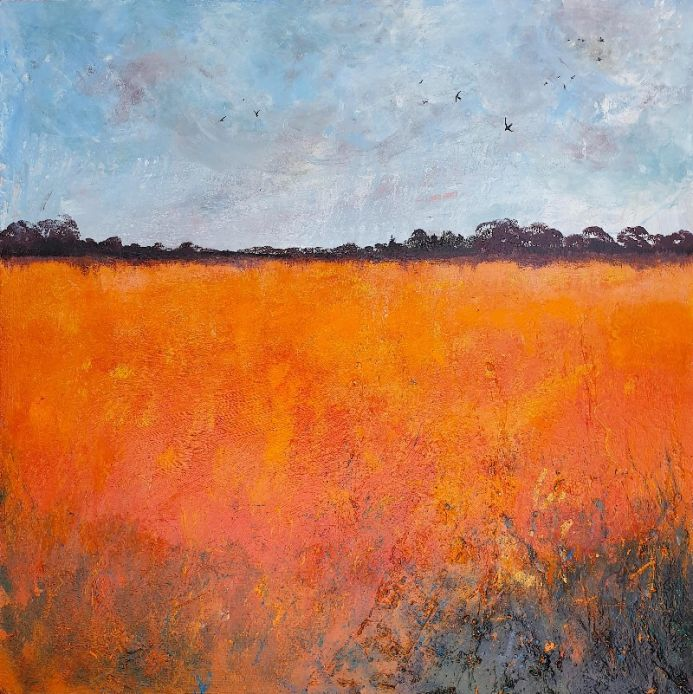Orange Field with Swallows