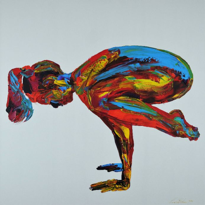 Yoga Pose Nude Woman Hand Stand 829 36x36x1.5 90x90x4cm  Acrylic on Stretched 3D Gallery Canvas