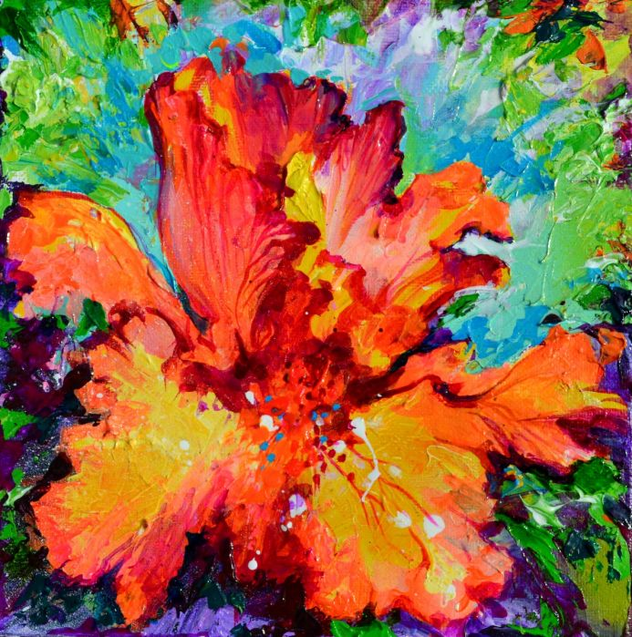 Colorful Textured Iris Flower Painting, Palette Knife Acrylics on Canvas, Small Modern Impressionistic Iris Flower, Perfect Gift for Christmas