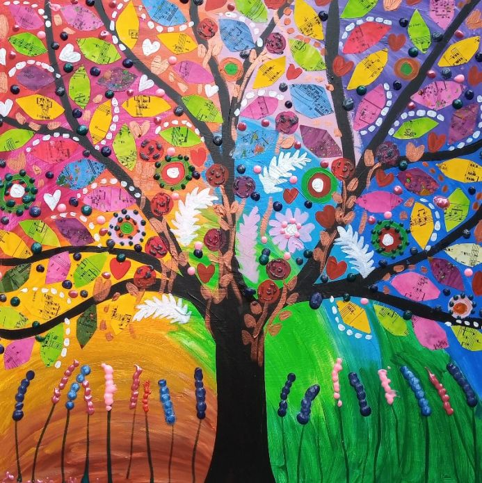 Jewelled Tree in a Rainbow Sky
