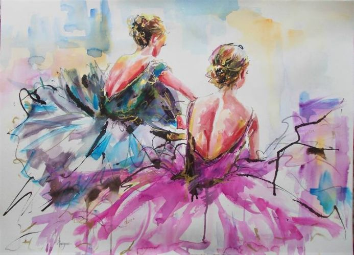 Conversation-Ballerina Mixed Media Painting on Paper