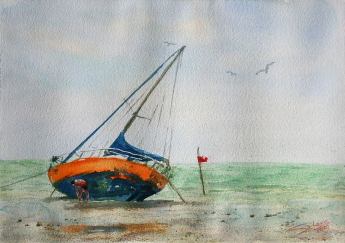 Cleaning the boat... Seascape... summer day... skay... seagull...