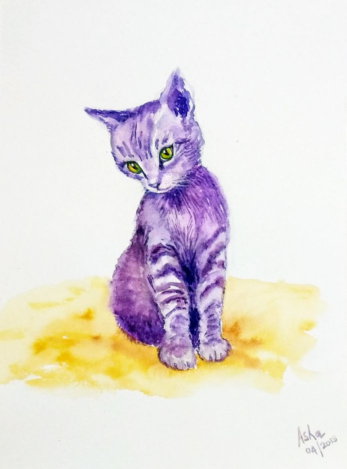 Kitten painting Cute purple kitten