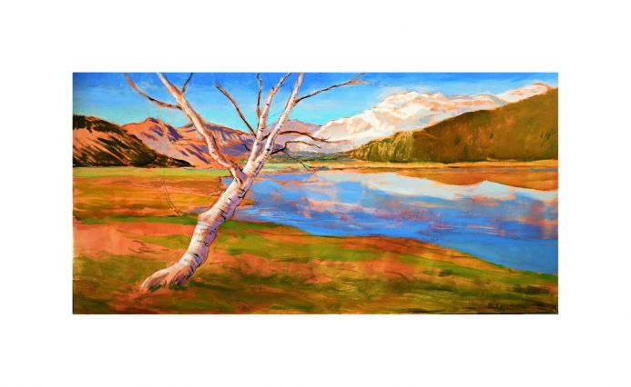 The Mountain Lake Acrylic painting on canvas.