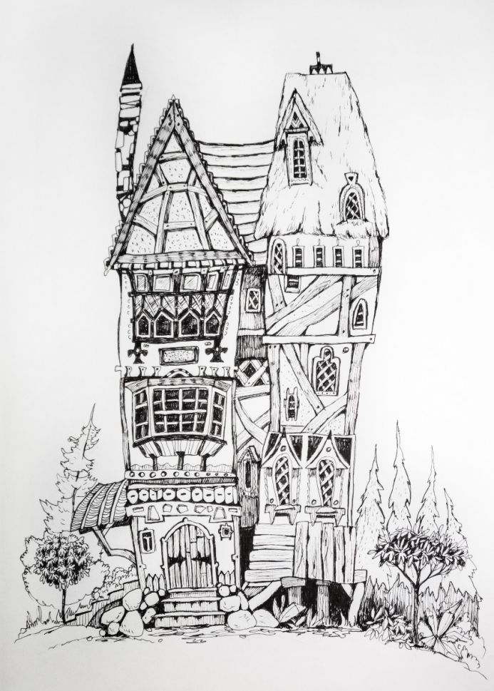 Ink drawing concept art houses. Magic village, fairy houses, fantasy medieval architecture.