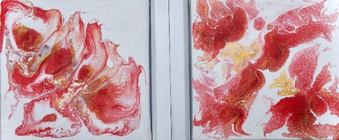 Red and gold acrylic flow