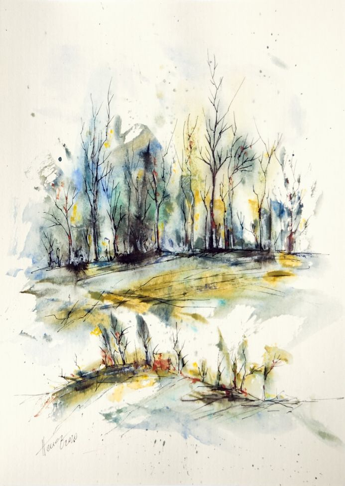 Winter trees - watercolor and ink painting by Aniko Hencz