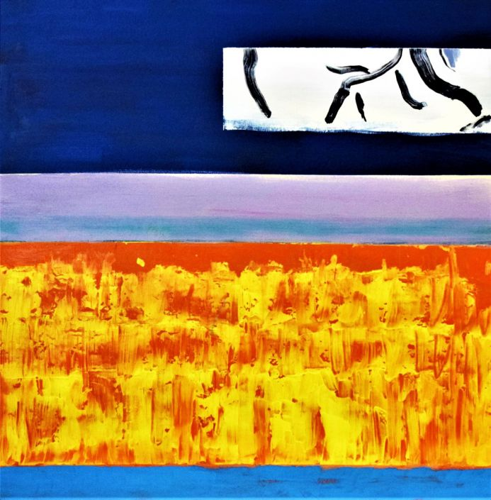 Abstract canvas painting  The Golden Twilight