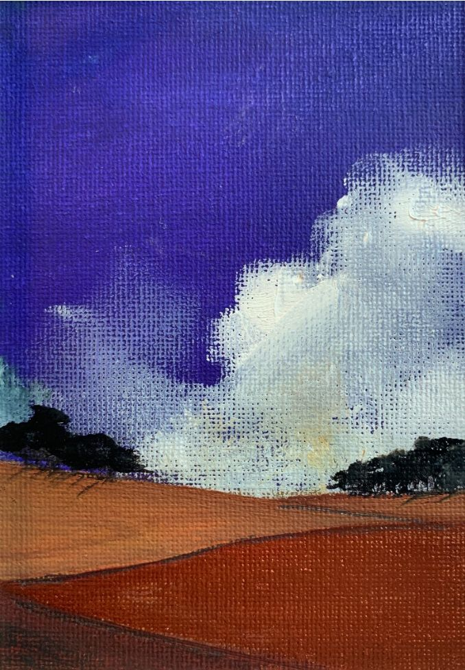The enamel blue skies - original oil painting within a mount