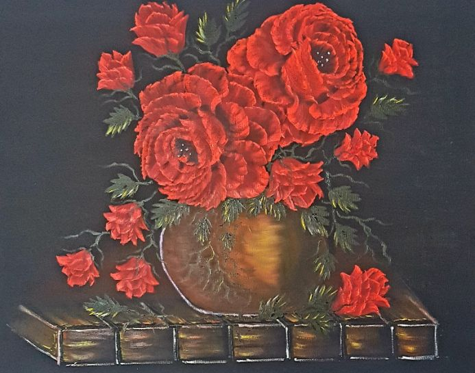 Pot of red roses