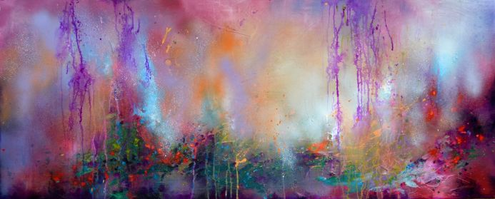 Fresh Moods 14, Large Abstract Painting 59x23.6x0.8 inches
