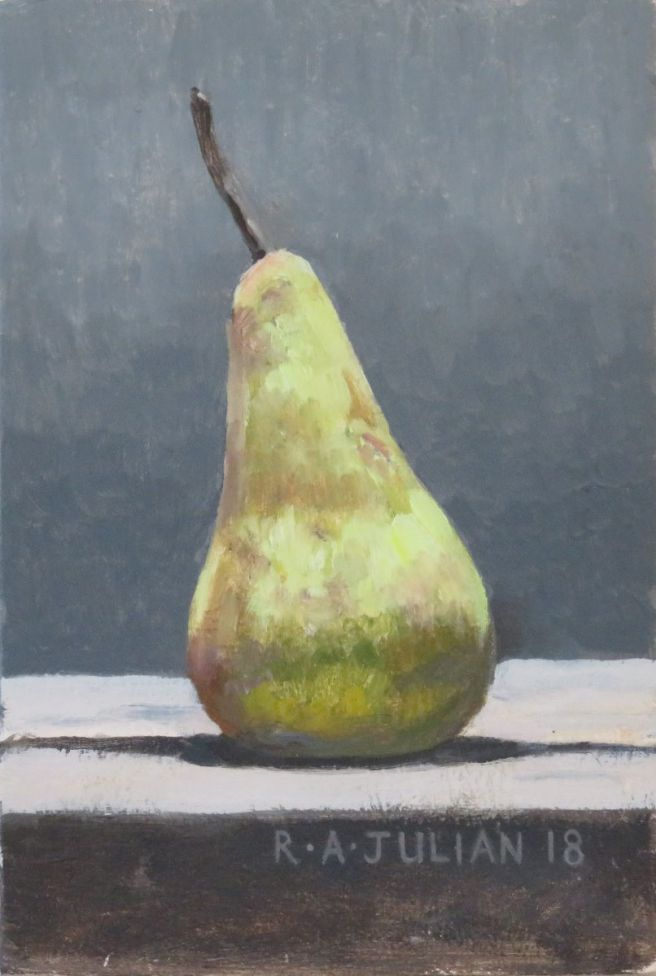 Still life, Pear II, framed.
