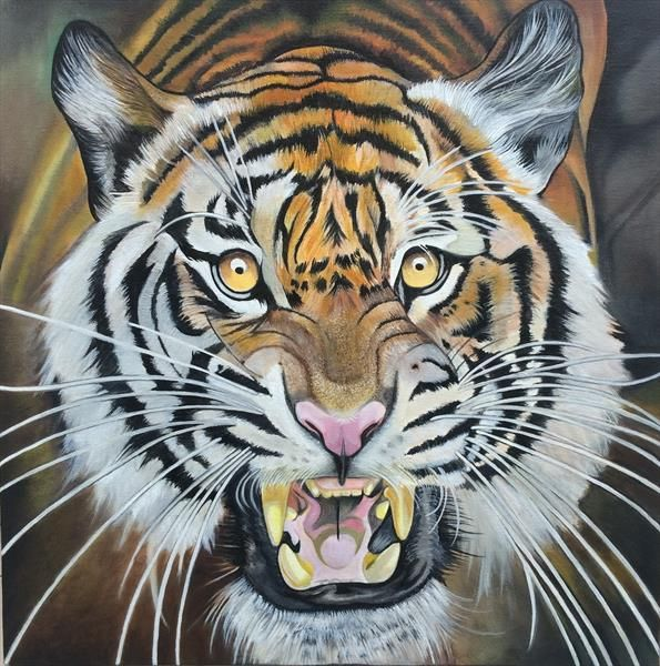 tiger oil painting by gareth miller   ArtGallery.co.uk