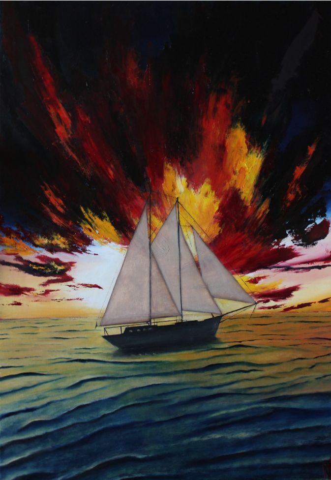 Ship in the sunset, 70x100 cm