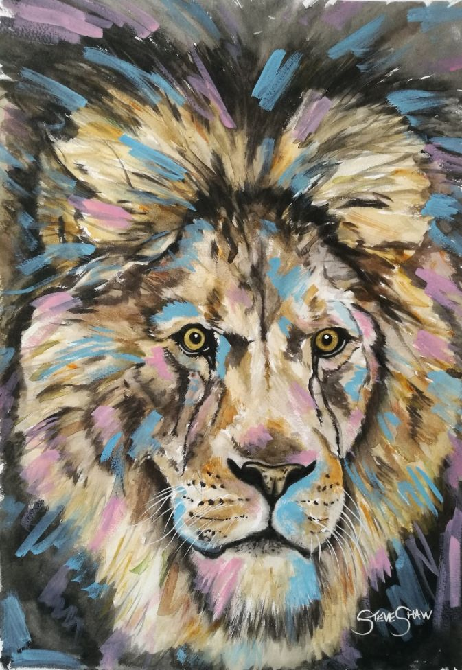 The Wild One. Watercolour Lion Painting on Paper. 29.7cm x 42cm. Free Worldwide Shipping.