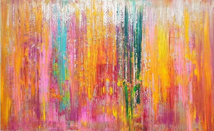 April showers - large colorful abstract