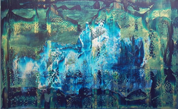 Iceberg - blue, golden, silver abstract painting