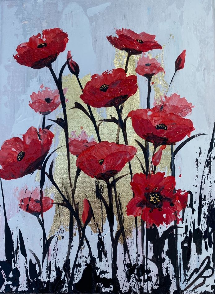 Gold Leaf Painting of Abstract Red Poppies