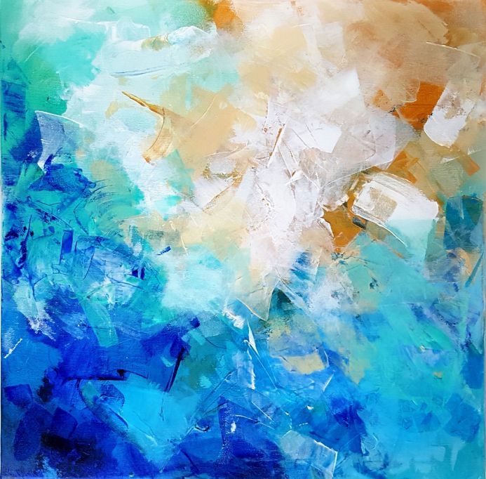 Abstract composition in dominating blue