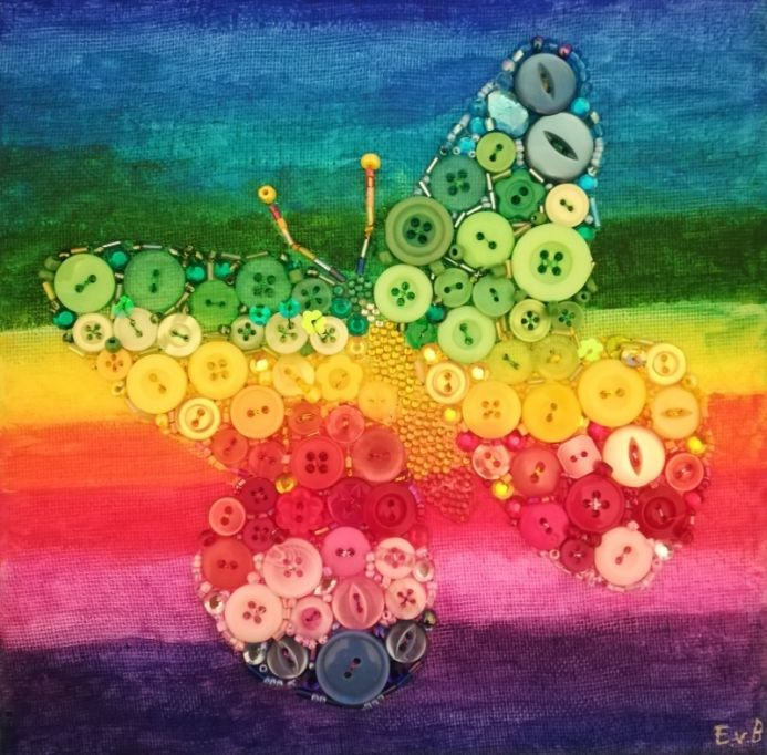 Rainbow button butterfly mosaic collage canvas