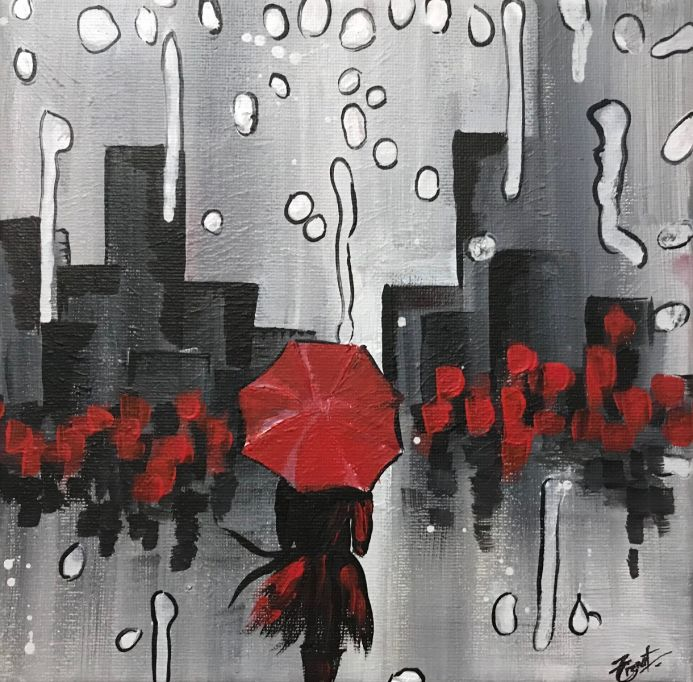 Umbrella With Girl Abstract Painting 112