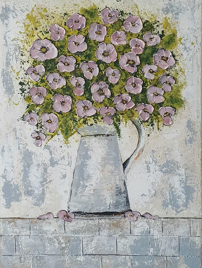 Life is a Vase with pink flowers