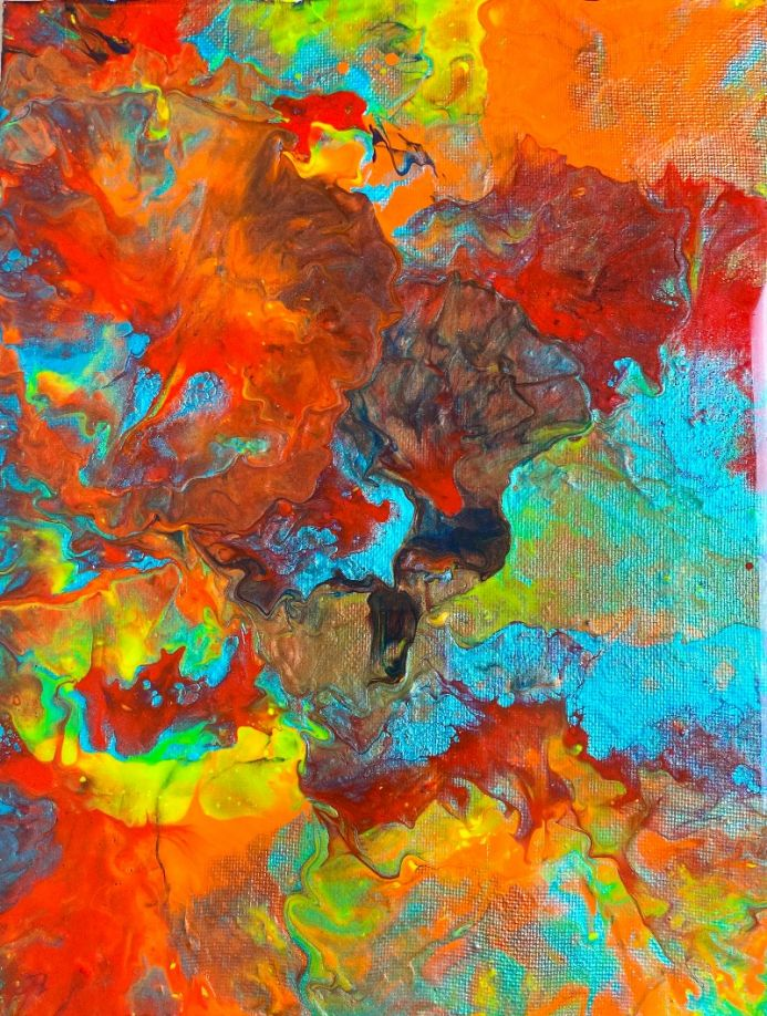 Fluid Abstract painting by Alessia Camoirano Bruges, Soho.