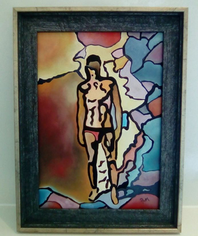 """Title: """"Shadow Monster - Fragmented Male"""" Framed Oil Painting"""