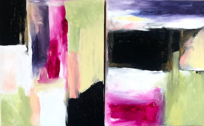Love Letters II Large Diptych on Canvas