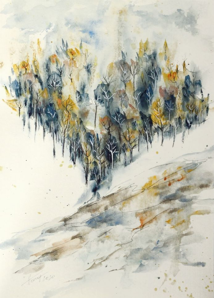 Snowing in the valley - watercolor and ink on paper