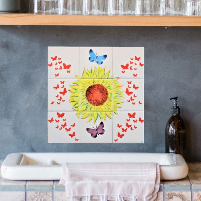 Sunflower Glazed Tile Mural with Butterflies