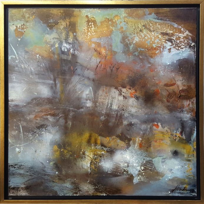 LARGE FRAMED DIAPHANE PAINTING MINDSCAPE LIGHTSCAPE SONATA FOR A DEEP SILENCE BY O KLOSKA