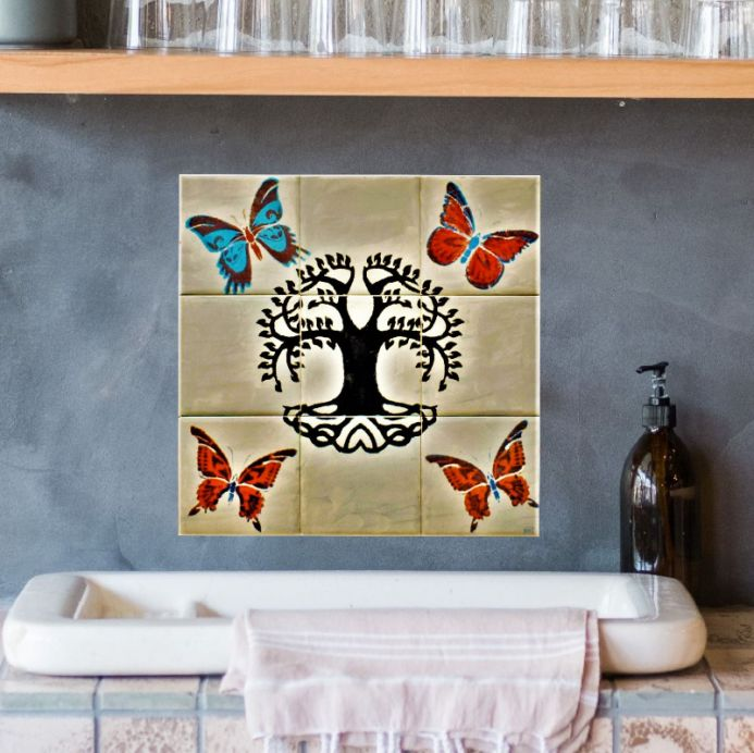 New Ceramic tile splashback hand painted Tree of Life 9 piece tile mural