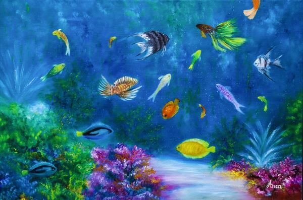 Underwater Painting Ocean Painting Sealife By Florentina Anca Popescu Artgallery Co Uk