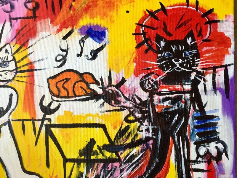 CATS, FELINE NEO-EXPRESSIONISM.RICE WITH CHICKEN VERSION OF FAMOUS PAINTING BY JEAN-MICHEL BASQUIAT
