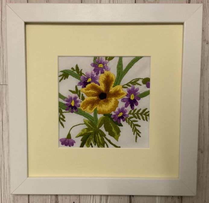 The late summer bouquet - Vintage Hand embroidered artwork  From 1930's - framed